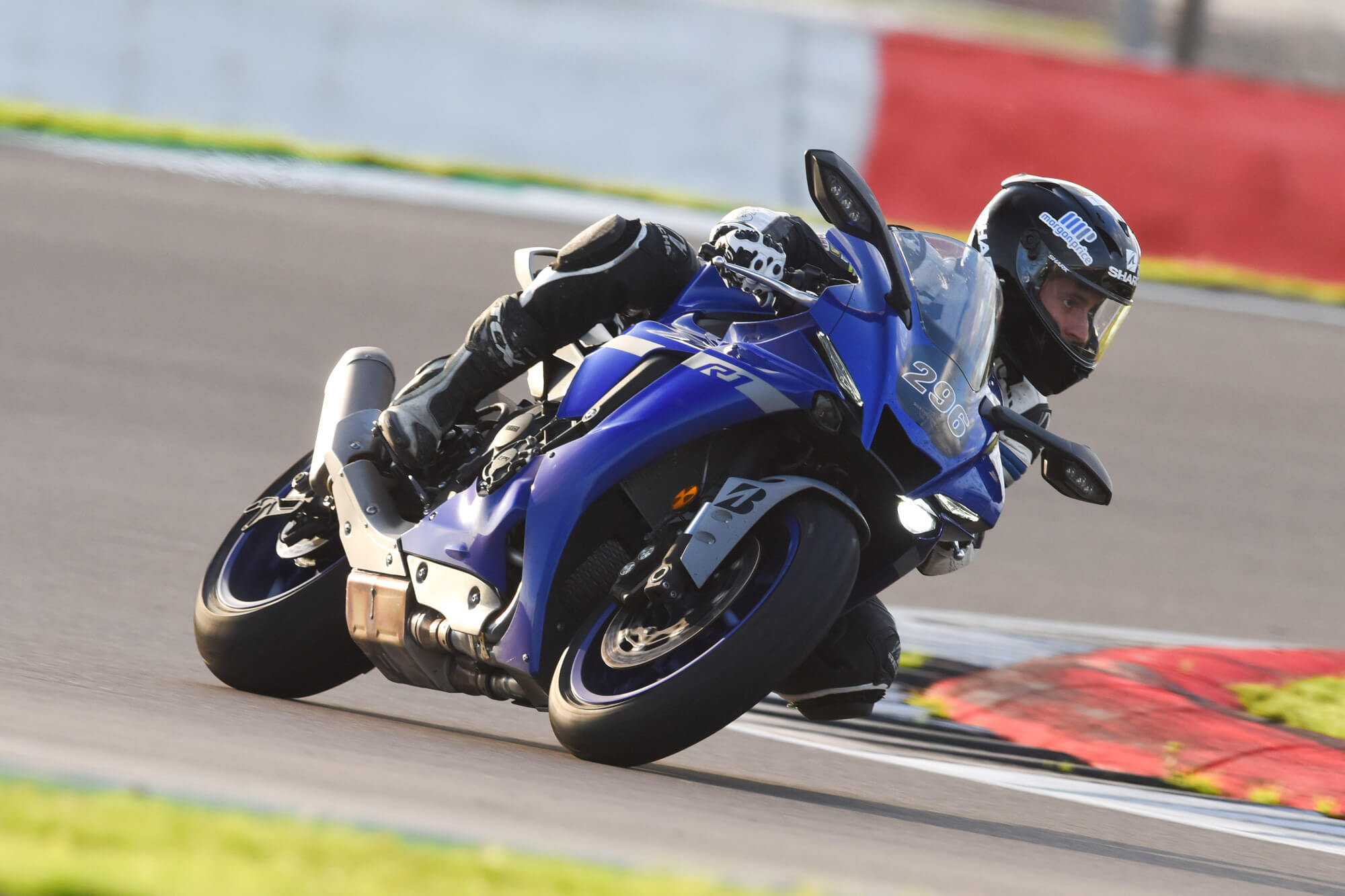 Rider getting their knee down on a Silverstone Bike Track Day