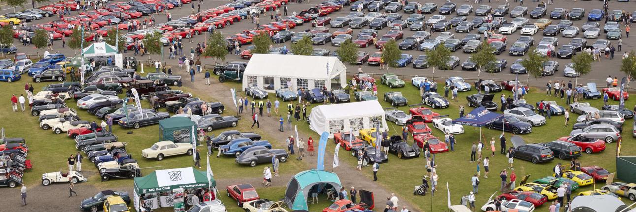 An ariel image of car clubs on display at The Classic, Silverstone