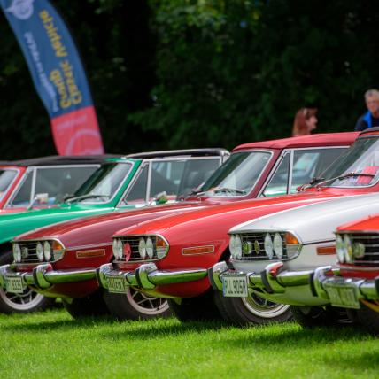 A line-up of brightly coloured classic cars displayed as part of a Car Club at The Classic at Silverstone