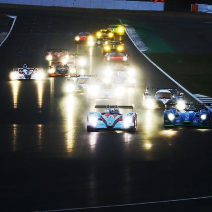 A grid of cars taking part in the Masters Endurance Legends race at The Classic at Silverstone