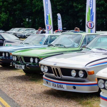 A line-up of brightly coloured classic BMWs displayed as part of a Car Club at The Classic at Silverstone