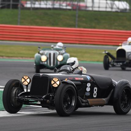 A pre war sportscar taking part in the Pre War race at The Classic at Silverstone