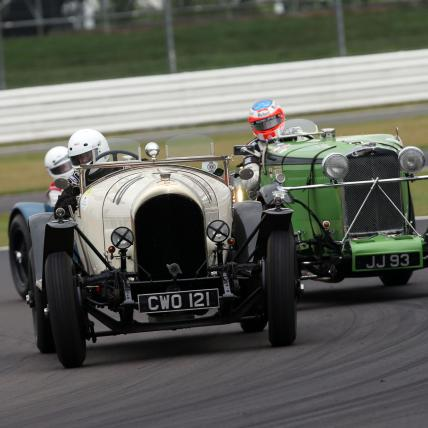 Two pre war sportscars taking part in the Pre War race at The Classic at Silverstone
