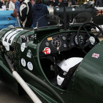 The inside of a pre war sportscar about to take part in the Pre War Sportcars race at The Classic at Silverstone